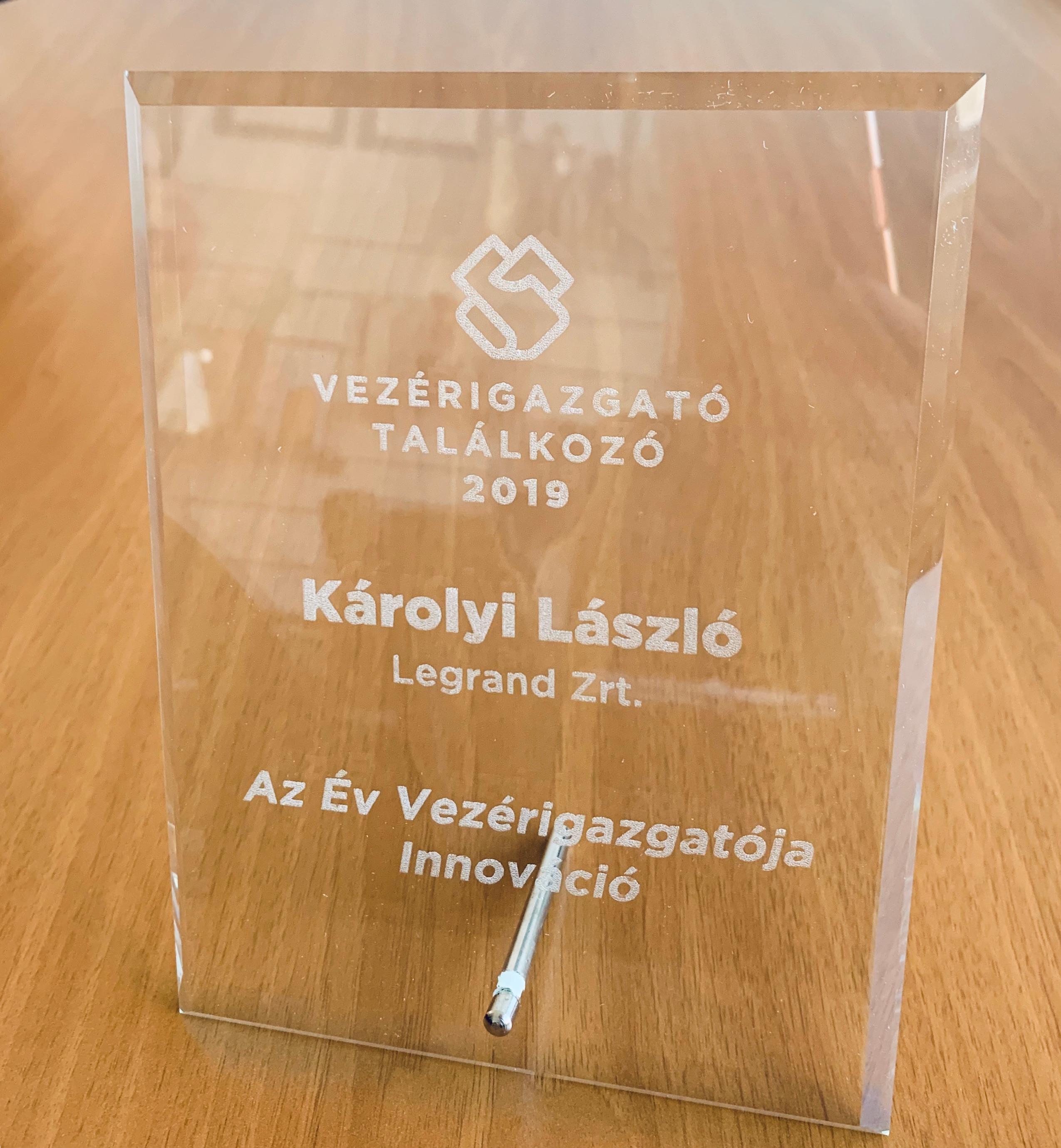 Károlyi László 'Az év vezérigazgatója -Innováció' kategóriában